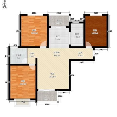 塔元庄园滹沱半岛3室0厅1卫1厨148.00㎡户型图