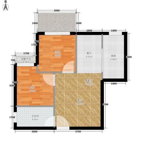 江林新城2室1厅1卫1厨71.00㎡户型图