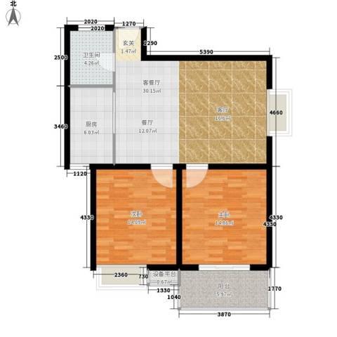 江林新城2室1厅1卫1厨85.00㎡户型图