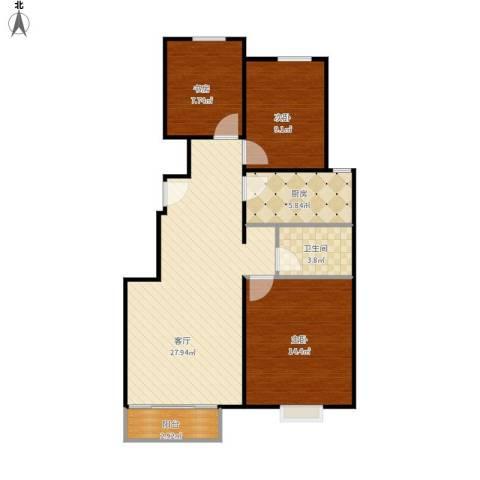 中国铁建·青秀尚城3室1厅1卫1厨97.00㎡户型图