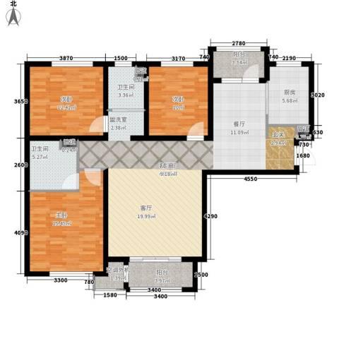 哈尔滨万达城3室1厅2卫1厨137.00㎡户型图