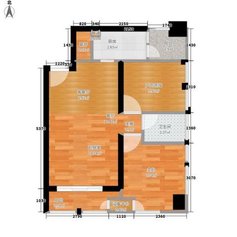 天祺佰潮汇1室1厅1卫1厨49.00㎡户型图