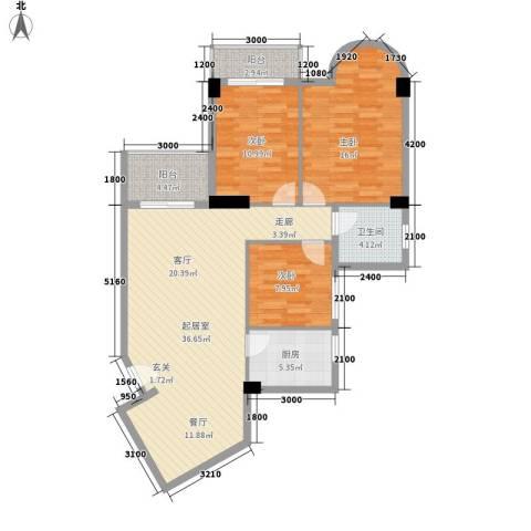 海滨城二期丽港新都3室0厅1卫1厨119.00㎡户型图