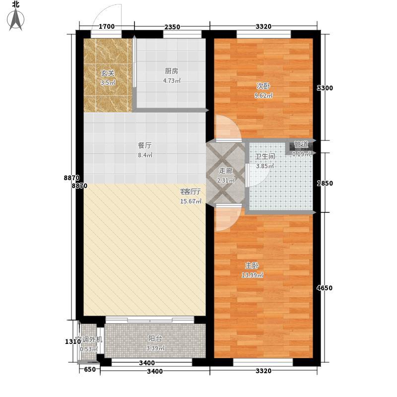 哈尔滨万达城90.00㎡万达城高层A1户型2室2厅