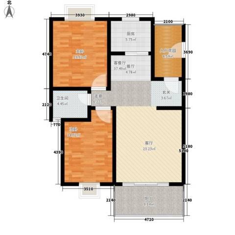 康乐园2室1厅1卫1厨115.00㎡户型图