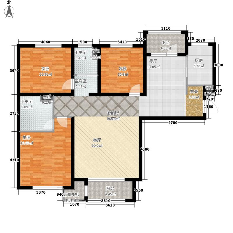 哈尔滨万达城134.00㎡万达城高层C1户型3室2厅