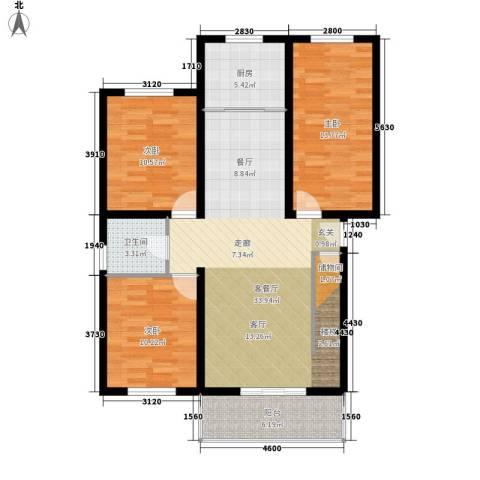锦园别墅3室1厅1卫1厨118.00㎡户型图