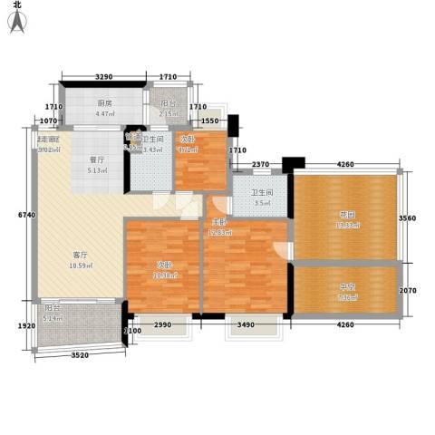 盈彩美居3室0厅2卫1厨107.00㎡户型图