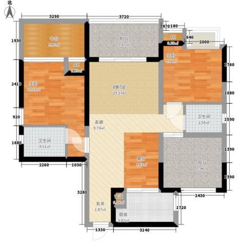 美年广场美岸2室0厅2卫1厨86.00㎡户型图