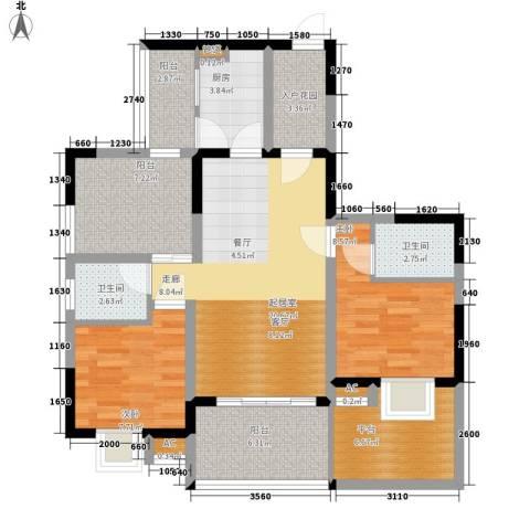 美年广场美岸2室0厅2卫1厨88.00㎡户型图