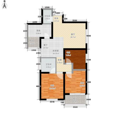 粮食局家属院3室0厅2卫1厨121.00㎡户型图