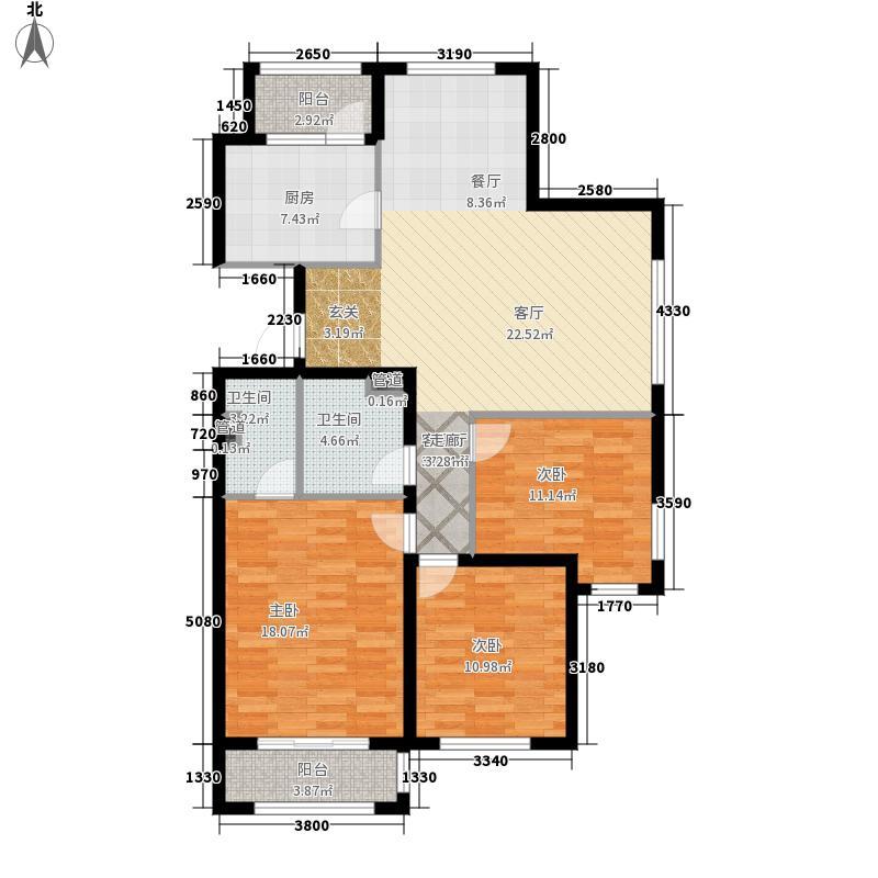 哈尔滨万达城138.00㎡万达城高层C3户型3室2厅