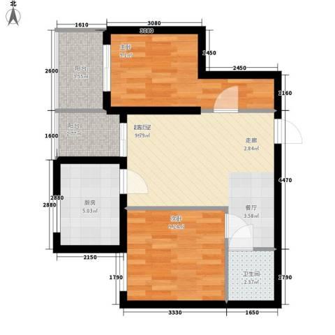 北岸2室0厅1卫1厨65.00㎡户型图