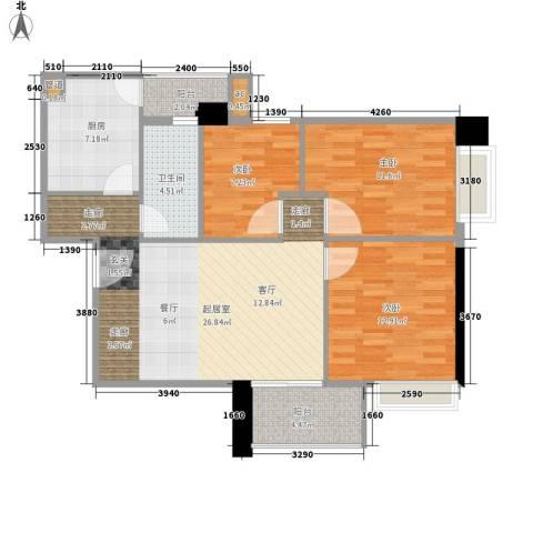 富力尚溢居3室0厅1卫1厨86.00㎡户型图