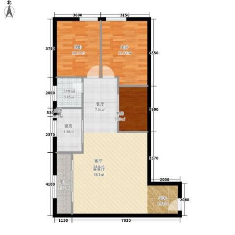昊天3室1厅1卫1厨98.00㎡户型图