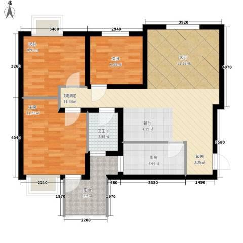 北岸3室0厅1卫1厨88.00㎡户型图