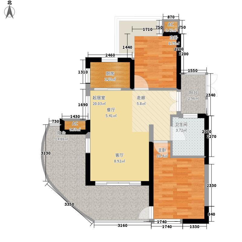 鲁能三亚湾97.00㎡美5区C-3户型2室2厅