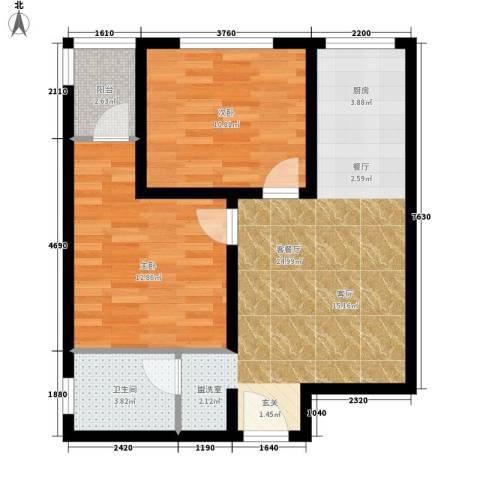 江林新城2室1厅1卫0厨63.00㎡户型图