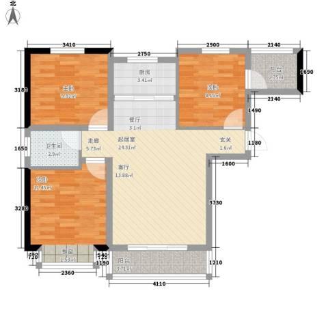 领南庄园3室0厅1卫1厨96.00㎡户型图