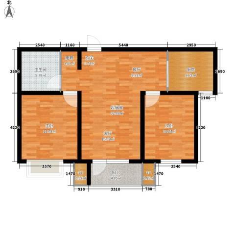 京港国际城2室0厅1卫1厨91.00㎡户型图