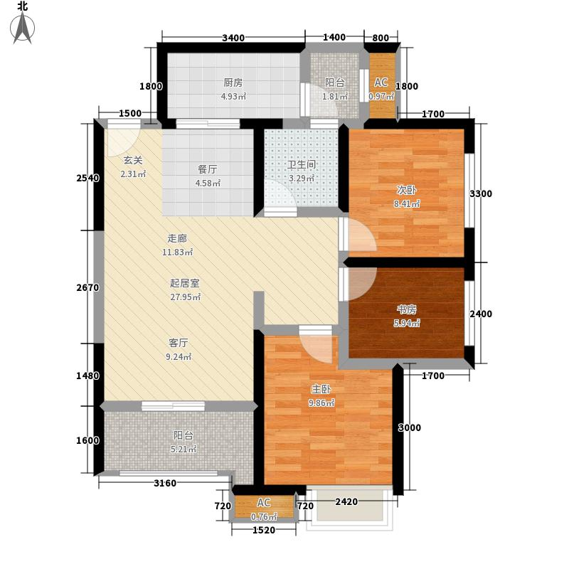 御锦城84.70㎡五期B3户型2室2厅