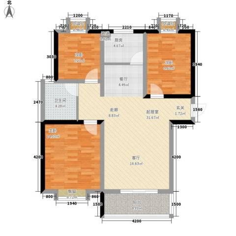 京海铭筑3室0厅1卫1厨112.00㎡户型图