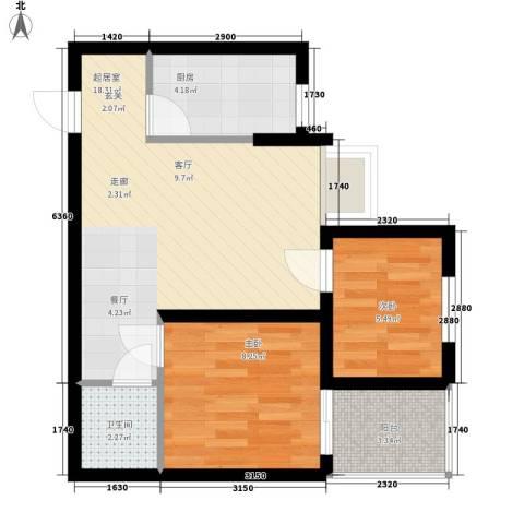 北岸2室0厅1卫1厨53.00㎡户型图