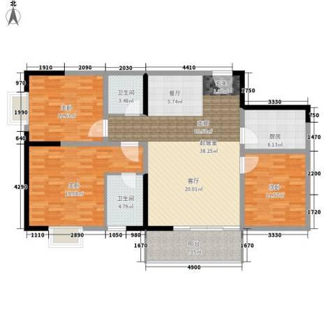 东城桃园3室0厅2卫1厨115.00㎡户型图