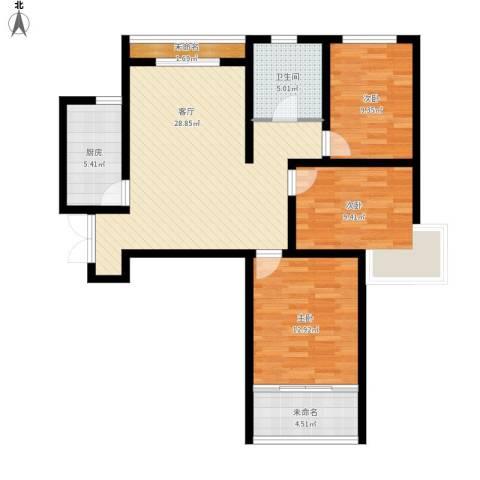 紫晶悦城3室1厅1卫1厨112.00㎡户型图