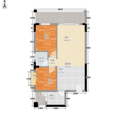 摩天一号2室0厅1卫1厨75.00㎡户型图