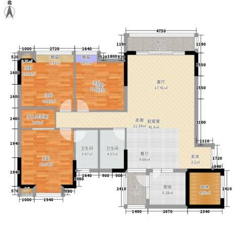 金竹家园3室0厅2卫1厨122.00㎡户型图