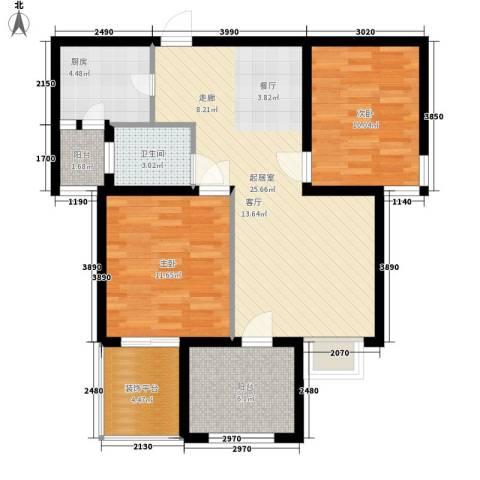北岸2室0厅1卫1厨96.00㎡户型图