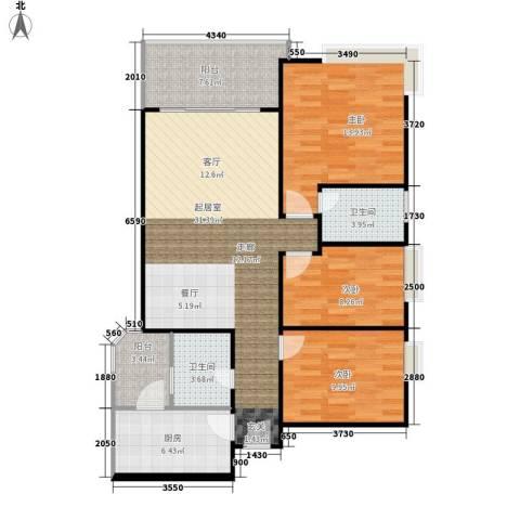 富力尚溢居3室0厅2卫1厨96.00㎡户型图