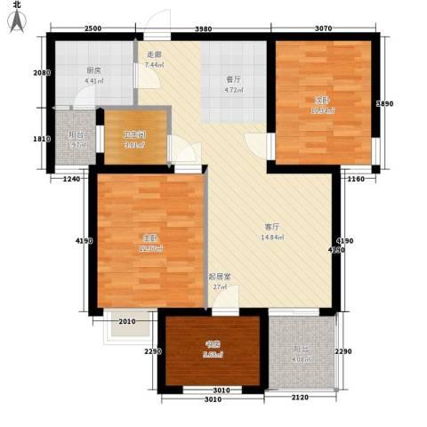 北岸3室0厅1卫1厨85.00㎡户型图