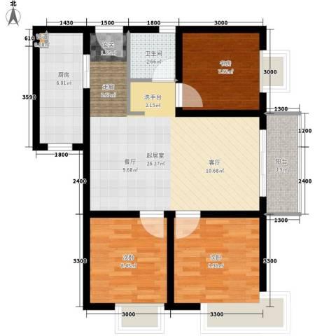 东城桃园3室0厅1卫1厨93.00㎡户型图