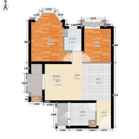 四季花园2室0厅1卫1厨75.00㎡户型图