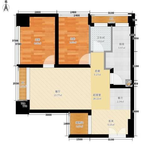 亚商国际2室0厅1卫1厨66.00㎡户型图