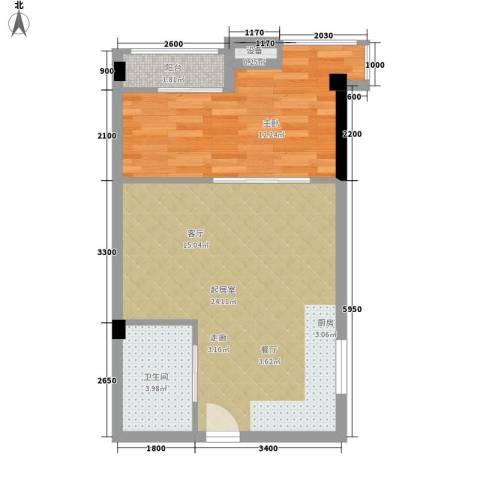 雍晟时代公馆1室0厅1卫0厨52.00㎡户型图