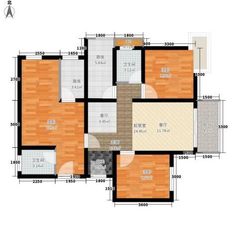 东城桃园3室0厅2卫2厨122.00㎡户型图