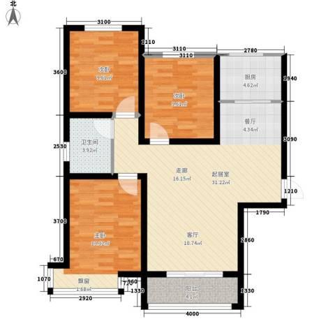 中谋壹品公馆3室0厅1卫1厨110.00㎡户型图
