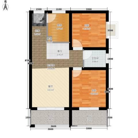 东城桃园2室0厅1卫1厨88.00㎡户型图