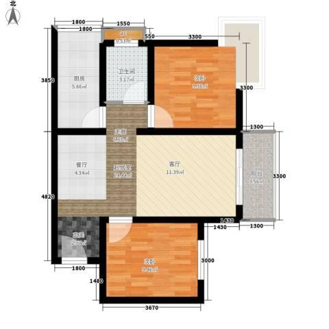 东城桃园2室0厅1卫1厨82.00㎡户型图