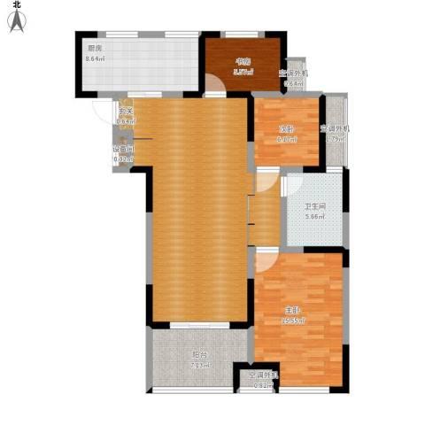 天淳江南3室1厅1卫1厨127.00㎡户型图