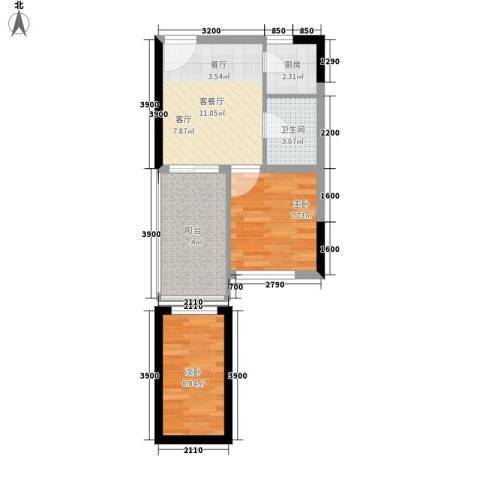 日月星城2室1厅1卫1厨56.00㎡户型图