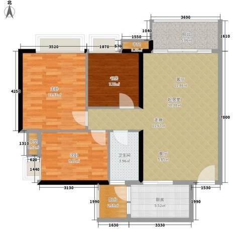 新芙蓉之都3室0厅1卫1厨88.00㎡户型图