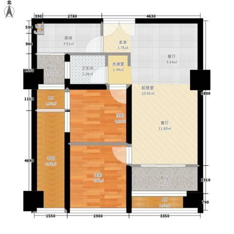 亚商国际2室0厅1卫1厨68.00㎡户型图