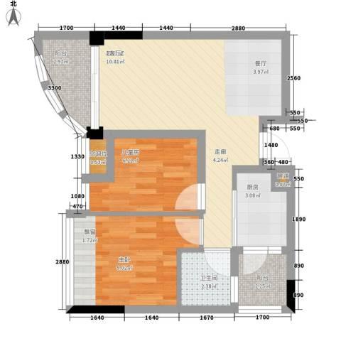 碧桂园椰城2室0厅1卫1厨70.00㎡户型图