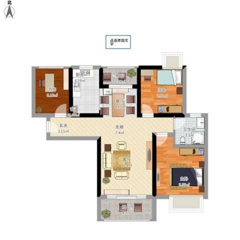 鑫苑世家3室1厅1卫1厨94.00㎡户型图
