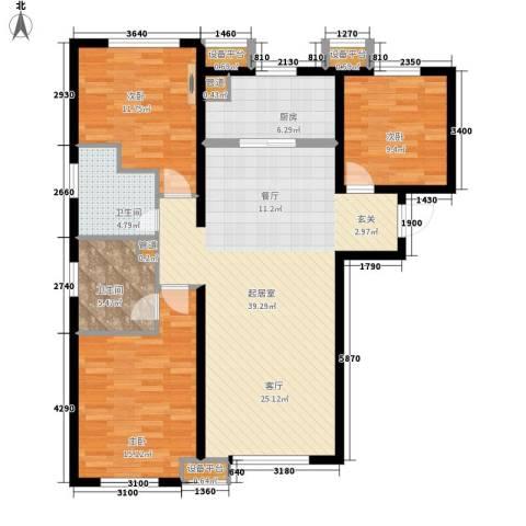 华远海蓝城3室0厅2卫1厨129.00㎡户型图