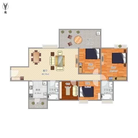 富和名都二期4室1厅2卫1厨125.83㎡户型图
